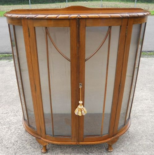 Walnut Two Door China Display Cabinet